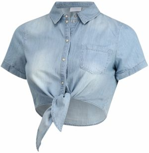 MAMALICIOUS Blúzka 'MLHAYLE S/S CROPPED SHIRT A.'  modré