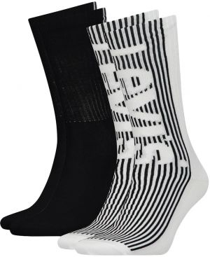 LEVI`S - 2PACK Levi`s regular cut white & black ponožky