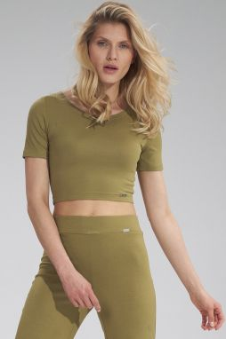 Olivovo zelený crop top M748