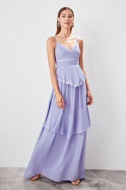 Trendyol Lilac lace detailed evening dress