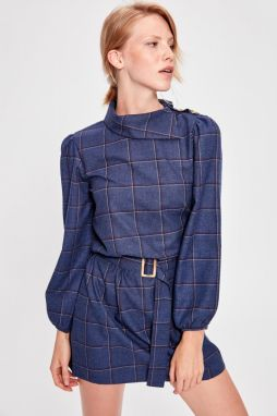Trendyol Navy Blue Plaid Belt Dress