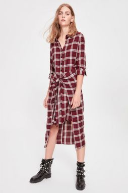 Trendyol Burgundy-Tied Shirt Dress