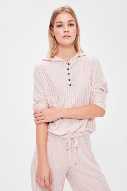 Trendyol Powder Button Detailed Hooded Pajama Top