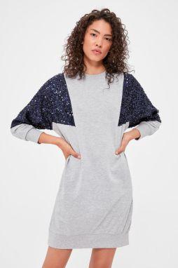 Trendyol Grey Sequin Detailed Knitted Dress