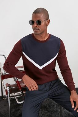 Trendyol Knitwear Sweater With Burgundy Men's Bicycle Collar Panel