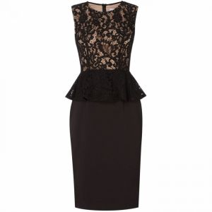 JS Collections Shift dress with lace bodice