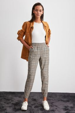 Trendyol Brown Checked Pants
