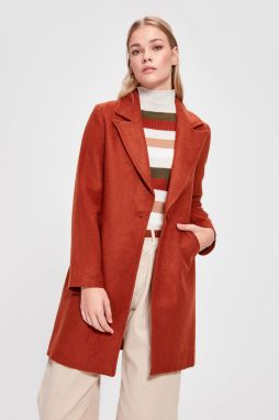 Trendyol Cinnamon Front Buttoned Wool Kase Kaban