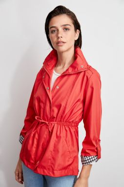 Trendyol Red Zipper-Capped Upright Collar Waist-Swelled Coat