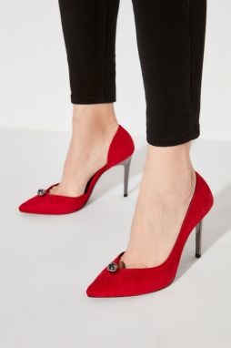 Trendyol Red Suede Women's Heels