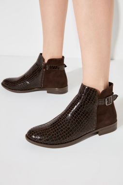 Trendyol Brown Kroko and Suede Detailed Women's Boots & Bootie