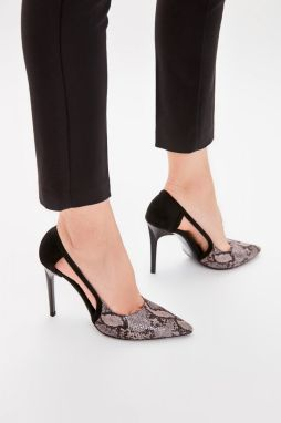 Trendyol Black Snake Patterned Women's Heels