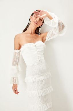 Trendyol White button detailed frilled dress