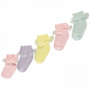 Crafted Essentials 5 Pack Frilly Socks Baby Girls