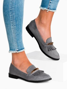 Larica Women's moccasins with tassels LR321 grey