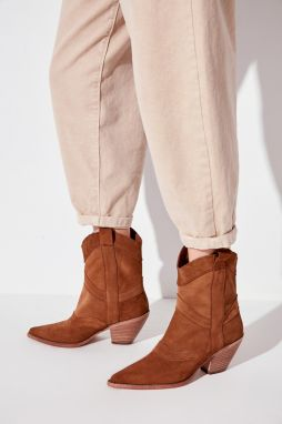 Trendyol Genuine Leather Taba Suede Women's Boots