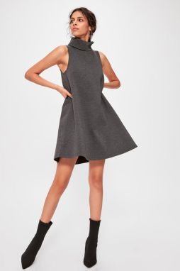 Trendyol Anthracite Steep Collar Knitted Dress