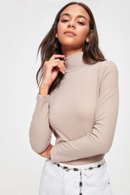 Trendyol Beige Steep Neck Knitted Blouse