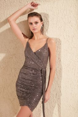 Trendyol Anthracite Drape Detailed Sequined Dress