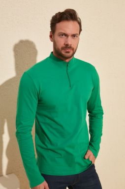 Trendyol Emerald Green Men Long Sleeve New T-Shirt