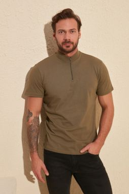 Trendyol Khaki Men's Collar Zippered New T-Shirt