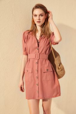 Trendyol Rose-Dried Button Belt Edging Dress