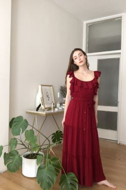 Trendyol Burgundy BeltEd Frill Detailed Dress