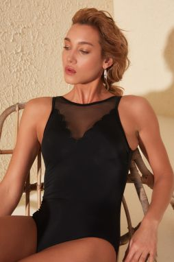 Trendyol Black Tulle Detailed Swimsuit