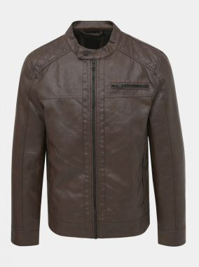 Only & SONS Sal Brown Leather Jacket