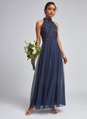 Dark Blue Tulle Maxi dress Dorothy Perkins Petite