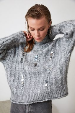 Trendyol Gray Sequined Knitsweater