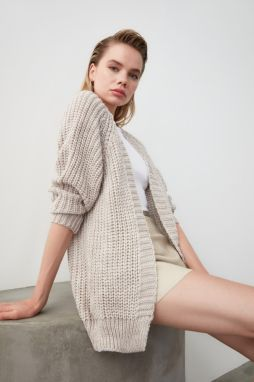 Trendyol Stone Mesh Detailed Knitwear Cardigan
