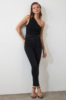 Trendyol Black Belt High Waist Skinny Jeans