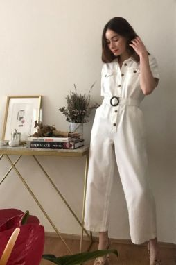 Trendyol White Belt Denim Jumpsuit