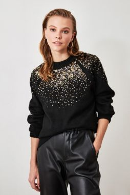 Trendyol Black Sequined Knit Sweater