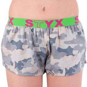 Women's shorts Styx art sports rubber beige camouflage (T557)
