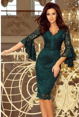 234-2 Lace dress with flared sleeves - BOTTLE GREEN