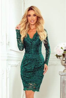 170-9 Lace dress with long sleeves and NECKLINE - BOTTLE GREEN