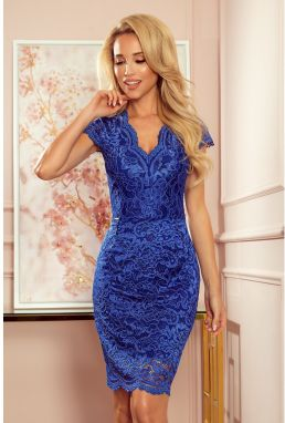 316-4 Lace dress with short sleeves and neckline - CHABROWA