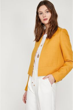 Koton Women Yellow Button Detailed Jacket