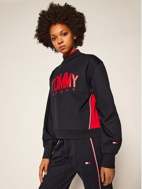 Tommy Sport Mikina Cropped Crew Neck S10S100662 Tmavomodrá Cropped Fit