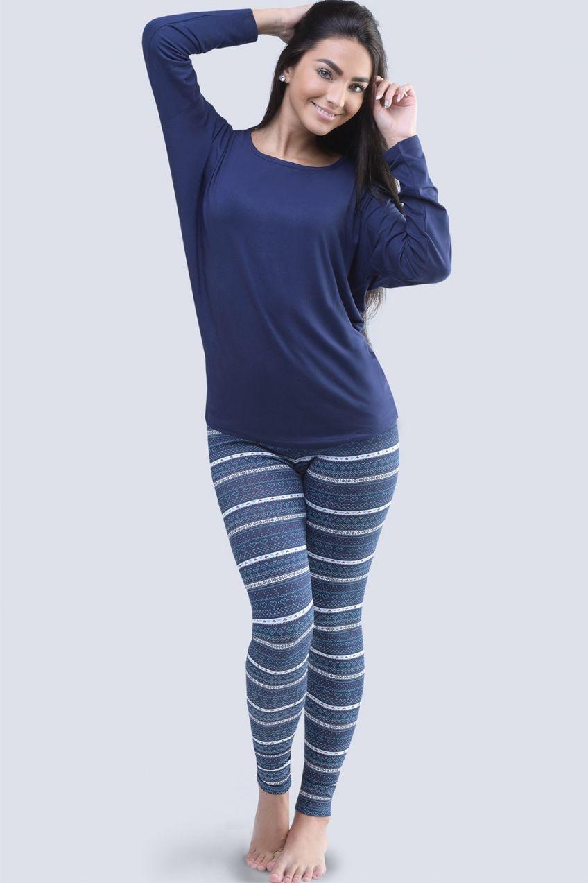 8f7833f14255 Dámske pyžamo s netopierími rukávmi Winter modré značky Gina - Lovely.sk